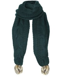 dunkelgrüner Strick Schal