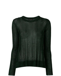 dunkelgrüner vertikal gestreifter Pullover mit einem Rundhalsausschnitt von Roberto Collina