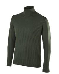 dunkelgrüner Wollrollkragenpullover von Falke