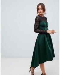 dunkelgrünes ausgestelltes Kleid aus Spitze von ASOS DESIGN