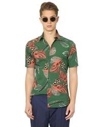 dunkelgrünes bedrucktes Kurzarmhemd