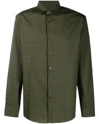 dunkelgrünes bedrucktes Langarmhemd von Salvatore Ferragamo