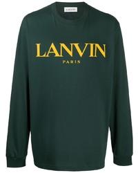 dunkelgrünes bedrucktes Langarmshirt von Lanvin