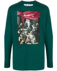 dunkelgrünes bedrucktes Langarmshirt von Off-White