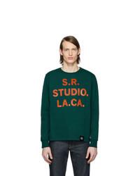 dunkelgrünes bedrucktes Langarmshirt von S.R. STUDIO. LA. CA.