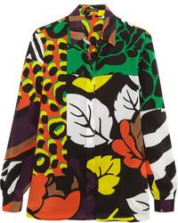 dunkelgrünes bedrucktes Seidehemd von Versace