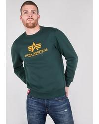 dunkelgrünes bedrucktes Sweatshirt von Alpha Industries