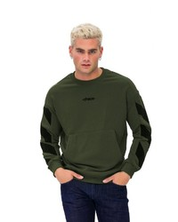dunkelgrünes bedrucktes Sweatshirt von Tom Barron