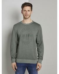 dunkelgrünes bedrucktes Sweatshirt von Tom Tailor