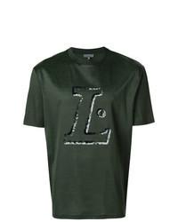 dunkelgrünes bedrucktes T-Shirt mit einem Rundhalsausschnitt
