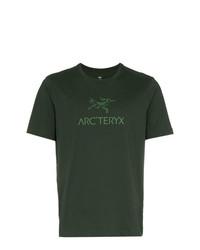 dunkelgrünes bedrucktes T-Shirt mit einem Rundhalsausschnitt von Arc'teryx