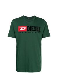 dunkelgrünes bedrucktes T-Shirt mit einem Rundhalsausschnitt von Diesel
