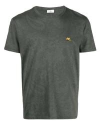 dunkelgrünes bedrucktes T-Shirt mit einem Rundhalsausschnitt von Etro