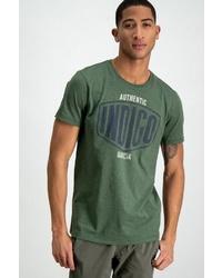 dunkelgrünes bedrucktes T-Shirt mit einem Rundhalsausschnitt von GARCIA