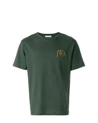 dunkelgrünes bedrucktes T-Shirt mit einem Rundhalsausschnitt von JW Anderson