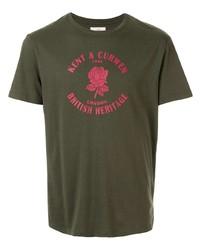 dunkelgrünes bedrucktes T-Shirt mit einem Rundhalsausschnitt von Kent & Curwen