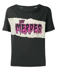 dunkelgrünes bedrucktes T-Shirt mit einem Rundhalsausschnitt von Maison Margiela