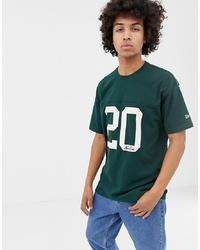dunkelgrünes bedrucktes T-Shirt mit einem Rundhalsausschnitt von New Era