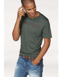 dunkelgrünes bedrucktes T-Shirt mit einem Rundhalsausschnitt von Tom Tailor