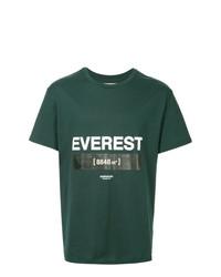 dunkelgrünes bedrucktes T-Shirt mit einem Rundhalsausschnitt von Yoshiokubo
