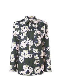 dunkelgrünes Businesshemd mit Blumenmuster von Marni