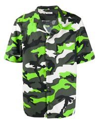 dunkelgrünes Camouflage Kurzarmhemd von Valentino