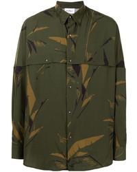 dunkelgrünes Camouflage Langarmhemd von Salvatore Ferragamo
