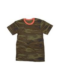 dunkelgrünes Camouflage T-Shirt mit einem Rundhalsausschnitt