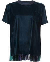 dunkelgrünes Chiffon T-shirt von Sacai