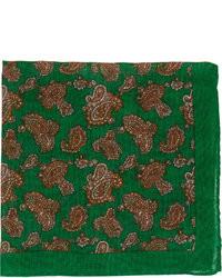 dunkelgrünes Einstecktuch mit Paisley-Muster