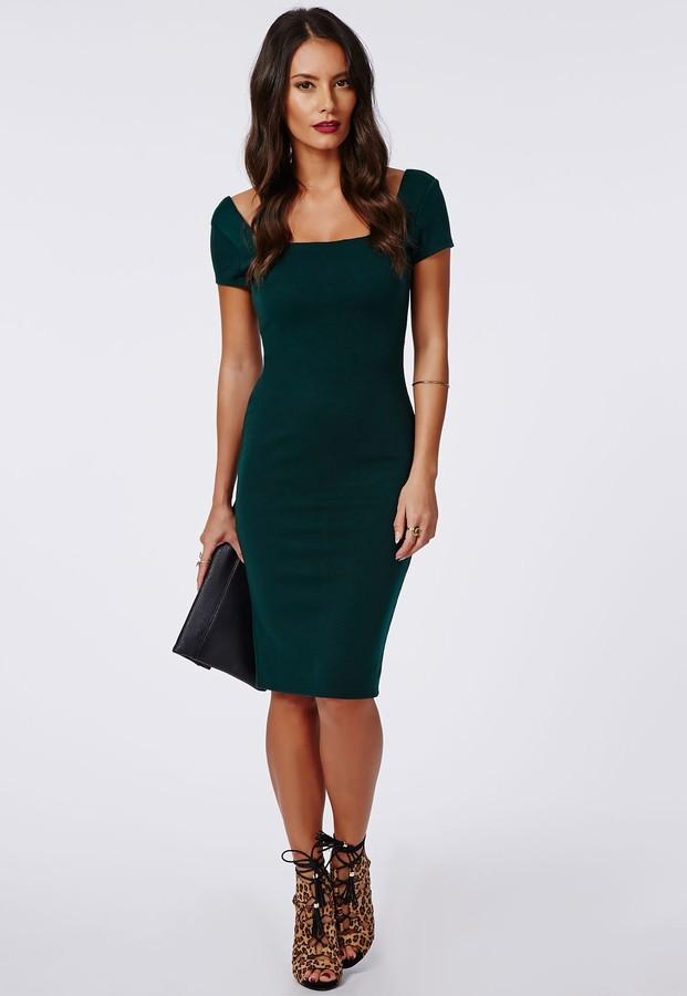 dunkelgrünes figurbetontes Kleid von Missguided   Wo zu kaufen und ...