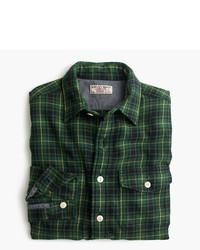 dunkelgrünes Flanell Langarmhemd mit Schottenmuster