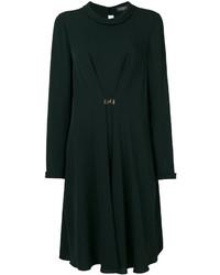 dunkelgrünes gerade geschnittenes Kleid aus Seide von Salvatore Ferragamo