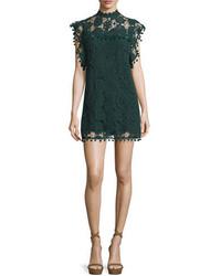 dunkelgrünes gerade geschnittenes Kleid aus Spitze