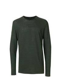 dunkelgrünes horizontal gestreiftes Langarmshirt