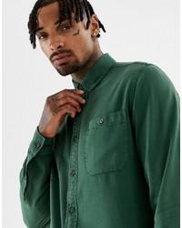 dunkelgrünes Jeanshemd