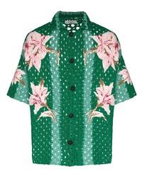 dunkelgrünes Kurzarmhemd mit Blumenmuster von Valentino