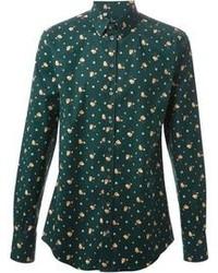 dunkelgrünes Langarmhemd mit Blumenmuster