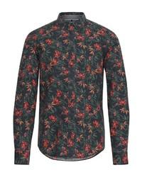 dunkelgrünes Langarmhemd mit Blumenmuster von BLEND