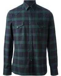 Dunkelgrünes Langarmhemd mit Schottenmuster