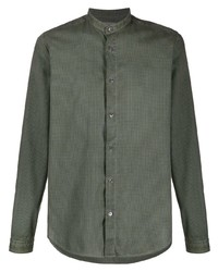 dunkelgrünes Langarmhemd von Boglioli