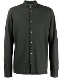 dunkelgrünes Langarmhemd von Zanone