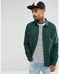 dunkelgrünes Leinen Langarmhemd