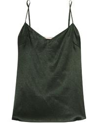dunkelgrünes Seide Trägershirt mit Leopardenmuster von Stella McCartney