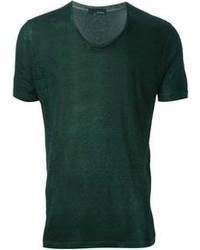 dunkelgrünes T-Shirt mit einem Rundhalsausschnitt