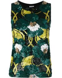 dunkelgrünes Trägershirt mit Blumenmuster von P.A.R.O.S.H.