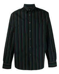dunkelgrünes vertikal gestreiftes Langarmhemd von Lanvin