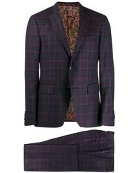 dunkellila Anzug mit Schottenmuster von Etro