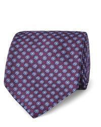 dunkellila bedruckte Krawatte von Canali