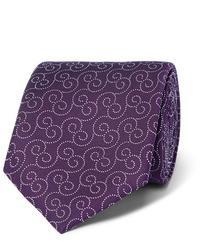 dunkellila bedruckte Krawatte von Charvet